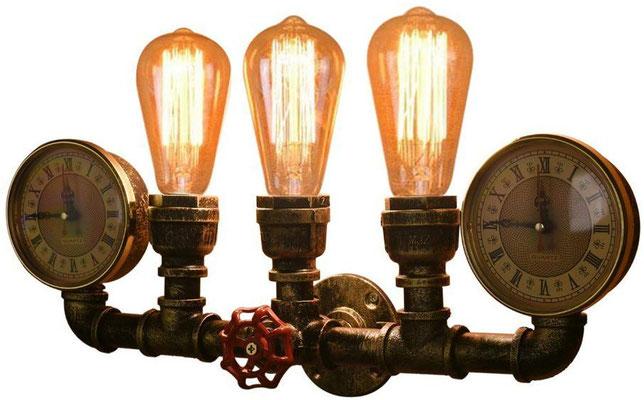 applique +vintage +retrò +industriale +parete +Steampunk +sandroshop +vendita +online +3 +lampade +tubi +idraulici