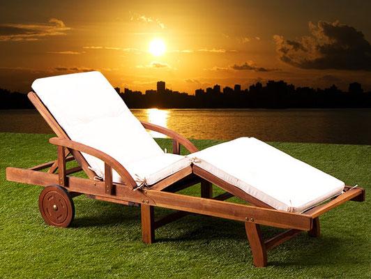 lettino sdraio +cuscino +materassino +legno