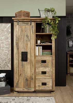 armadio legno+ante +scorrevoli +cassetti +stile industriale +mando