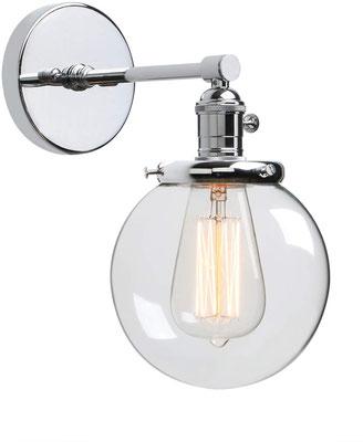 lampada a parete #vintage #industriale #acciaio #cromato #sandroshop +vetro +boccia