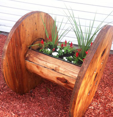 fioriera +riciclo +bobina legno +vaso +sandro +shop +online +shopping +vendita +pallet +arredo giardino +porta fiori +piante