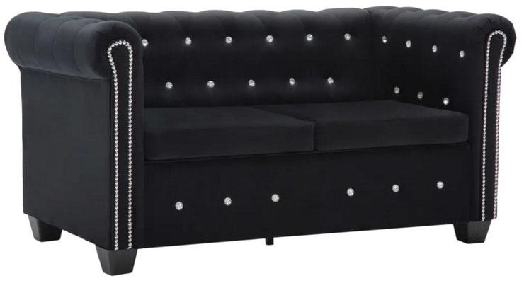 divano #chesterfield #velluto nero #due #posti