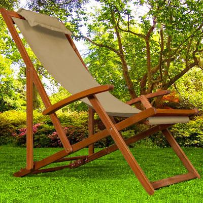 sedia sdraio +sandro shop +arredo + giardino +legno +acacia +outdoor +ecrù