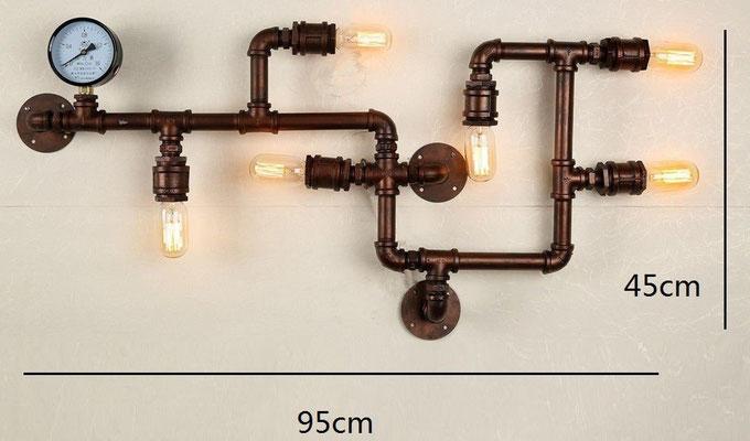 lampada + idraulici +applique +vintage +retrò +industriale +parete +tubi +sandroshop +vendita +online +rame