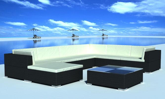 divano outdoor angolare nero polyrattan
