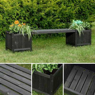 panca +legno +fioriera +trattato +giardino +nera