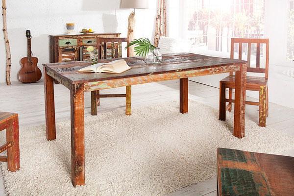 tavolo +legno riciclato +arredo +vintage +sandro shop +cucina +vendita +online +spedizione +recupero