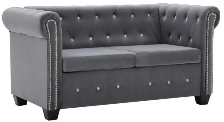 divano #chesterfield #velluto grigio #due #posti