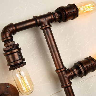lampada + idraulici +rame +applique +vintage +retrò +industriale +parete +tubi +sandroshop +vendita +online