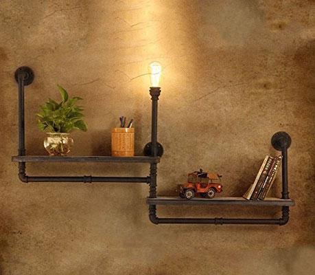 mensola +vintage +lampada +industriale +stile +urbano +loft +pub +tubi +raccordi +idraulici +Steampunk