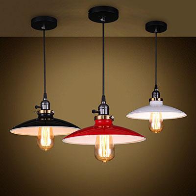 lampada #vintage #bianca rossa nera #smaltata #retrò #industriale #soffitto #pendente