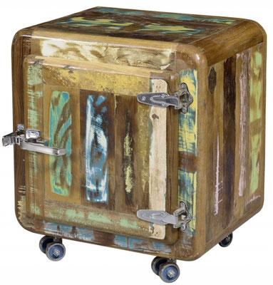 mobiletto +contenitore +legno +riciclato +frigo +vintage +anticato +multicolore +rotelle +50