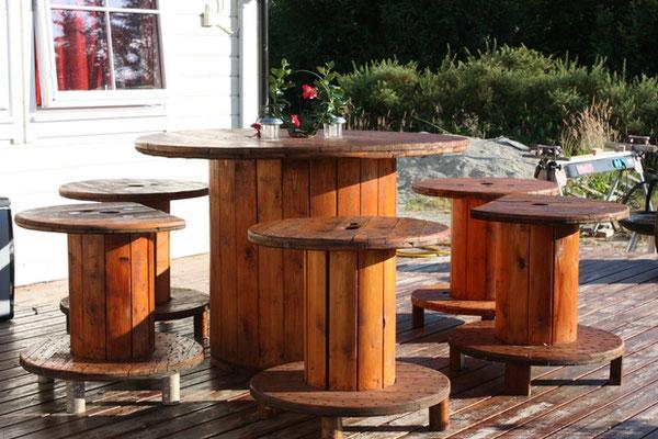 tavolo +riciclo +bobina +cavi +legno +arredo +sala +sandro +shop +online +shopping +set +giardino