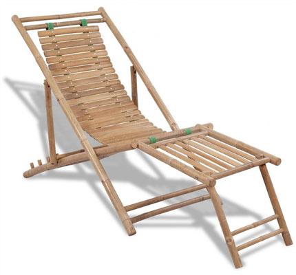 sdraio +bambù +bamboo +pieghevole +prendisole +poggiapiedi
