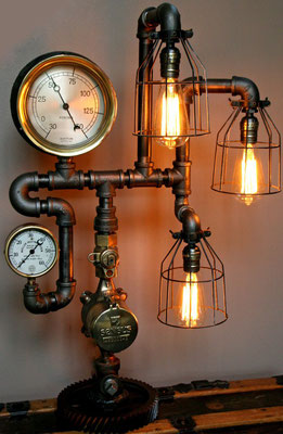 lampada +tubi +raccordi +idraulici +vintage +Steampunk +industriale +loft +urbano +fai da te +applique