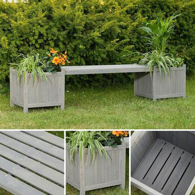panca +legno +fioriera +trattato +giardino +grigia
