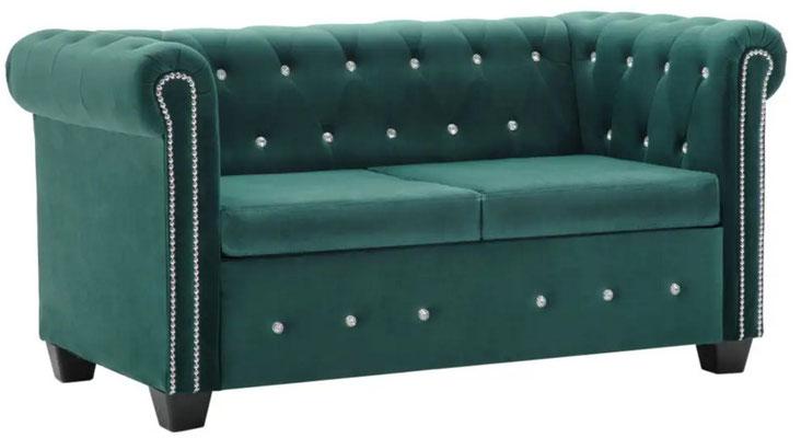 divano #chesterfield #velluto verde #due #posti