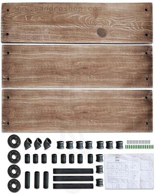 mensole +tubi +idraulici +3 +stile +industriale +pollice +ripiani +legno +massello +progetto +componenti