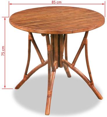 tavolo bambù +arredo +giardino +sala +pranzo + tondo