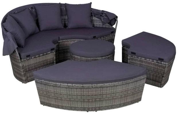divano da esterni #lettino #tondo #cupola #polirattan #grigio #sandroshop