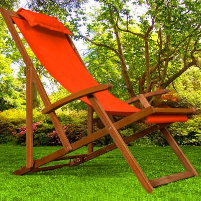 sedia sdraio +sandro shop +arredo + giardino +legno +acacia +outdoor +arancio