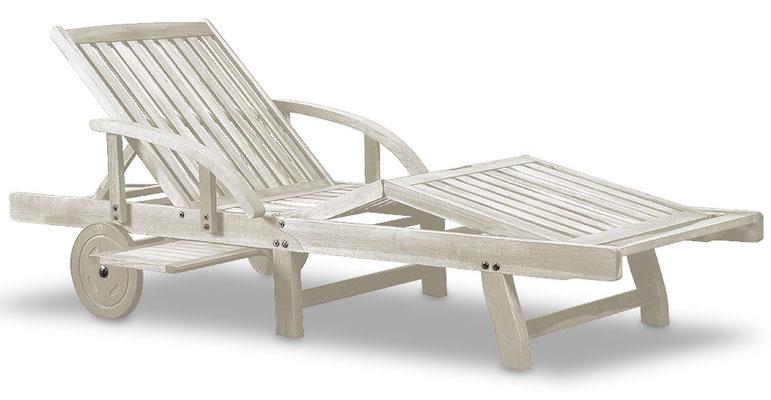lettino legno +sdraio +bianco +shabby +arredo giardino