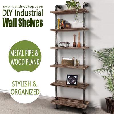 scaffale +mensole +tubi +idraulici +3 +stile +industriale +pollice +ripiani +legno +massello