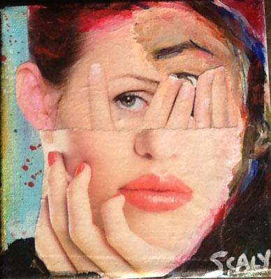thinker-12/12 cm- collage acrylique-disponible FOR SALE