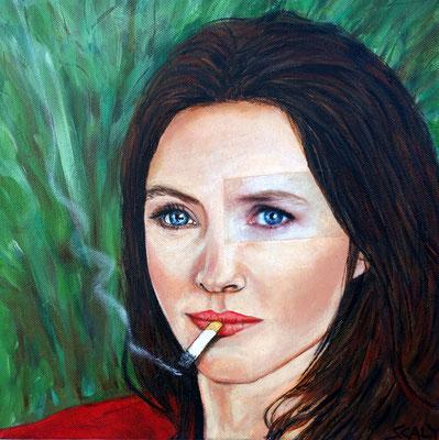 femme qui fume n=11- 30/30 cm  - Collage acrylique -disponible FOR SALE