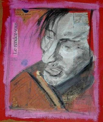 le rendez-vous-45/35 cm- collage acrylique