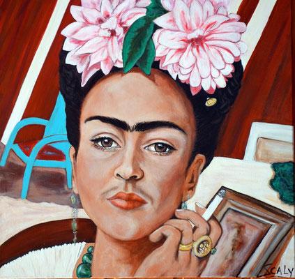 femme qui fume n=11- 60/60 cm- Collage acrylique.