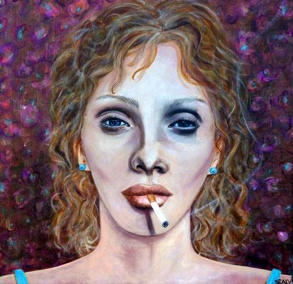femme qui fume n=11- 60/60  - Collage acrylique -disponible FOR SALE