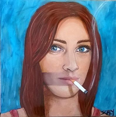 femme qui fume n=11- 30/30 cm- Collage acrylique -