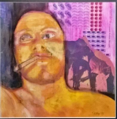 Homme qui fume en jaune. 30/30 cm-  acrylique sur papier journal-disponible FOR SALE