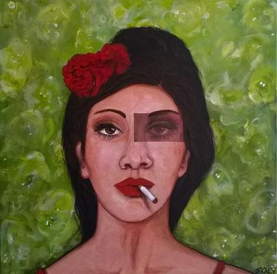 femme qui fume n=11- 60/60  - Collage acrylique
