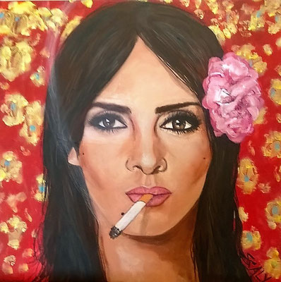 femme qui fume n=11- 60/60  - Collage acrylique-