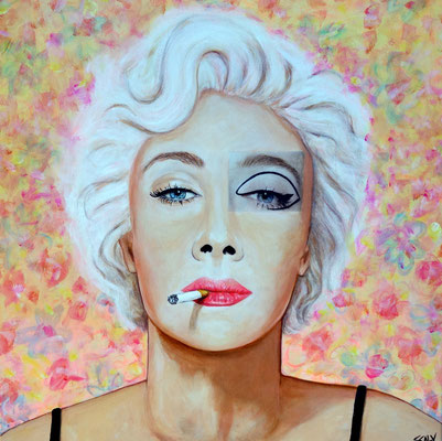 femme qui fume n=11- 60/60  - Collage acrylique-  disponible FOR SALE