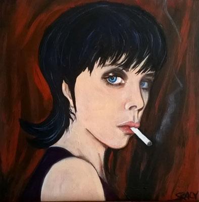 femme qui fume n=11- 30/30 cm - Collage acrylique