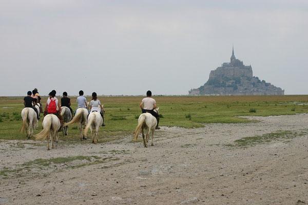 Randonnée équestre au Mont-Saint-Michel