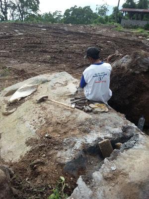 hard work to break the massiv stones