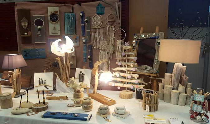 luminaire en bois flottés et décoration. déco Lacanau