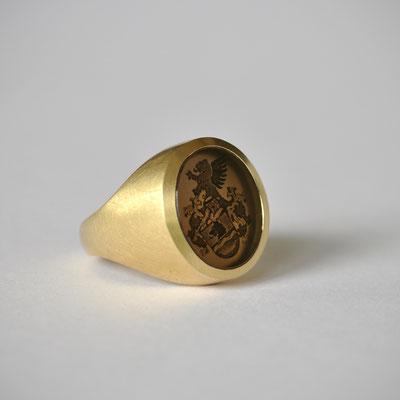 Wappenring 750/- Gelbgold Rauchquarz