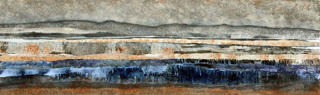 Papierlandschap op hardboard 21 x 70