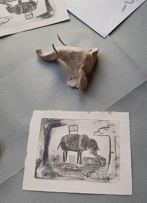 Tiefdruck von Gabriel, Thema Elafanten, Malakademie Jugend