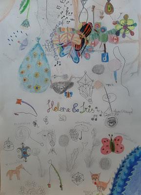 ein Gemeinschaftsbild von Helene und iris, nach dem 1. Lockdown war das Bedürfnis  groß, gemeinsam Bilder zu gestalten, über viele Stunden