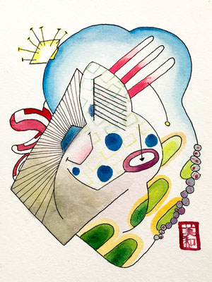 If Ukiyoe was Abstract 4 - Ink, color pencil, watercolor on paper, 6 inches or under