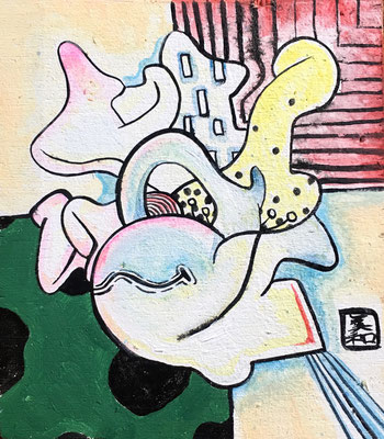 If Ukiyoe was Abstract - Acrylic on wood, 4.1/2x5 inches
