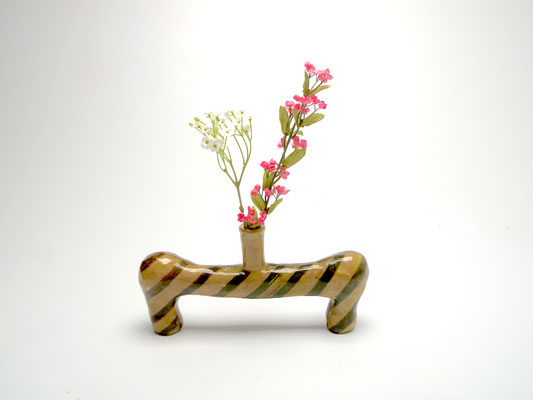 Size: Around 5 inches tall, 10 inches wide. Underglaze, slip and glaze on ceramic
