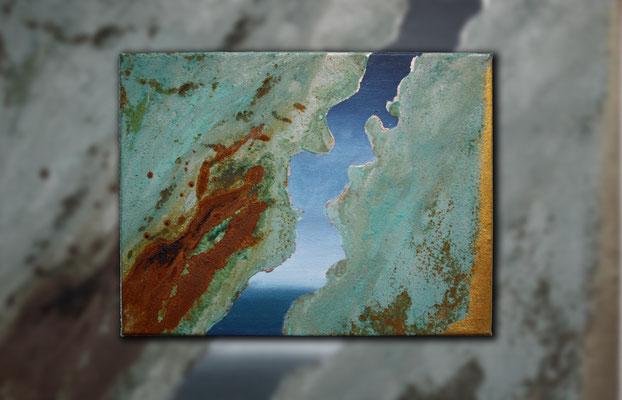 "Maritimer Blickwinkel IV"" 2015 (Acryl und Echtrostpatina auf Leinwand, 30 x 40)"