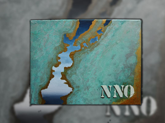 """""""Nord-Nord-Ost"""" 2015 (Acryl und Echtrostpatina auf Leinwand, 30 x 40)"""